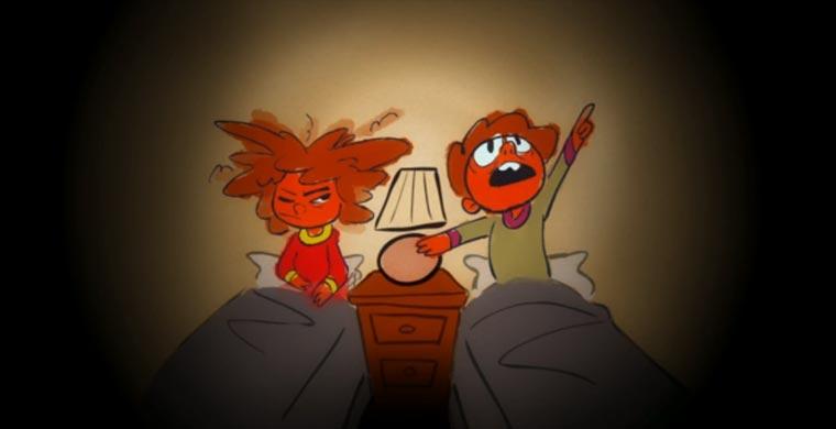 Die Angst des Kindes vor den Monsteraugen unterm Bett short_eye