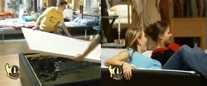 Streich: ein Bett aus echtem Wasser verstehensiespass_wasserbett