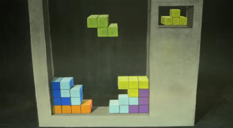 3D-Kreide-Tetris-Stopmotion