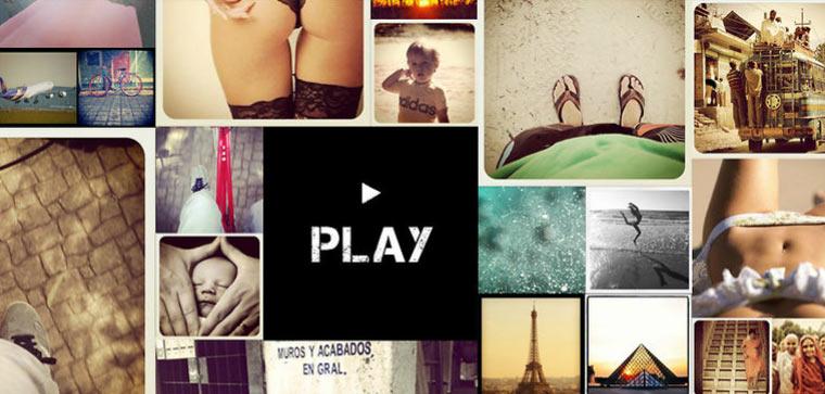 Eine Videogeschichte aus Instagram-Bildern Instantaneas