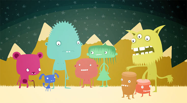 Animierte Aliens der Planeten 1-7
