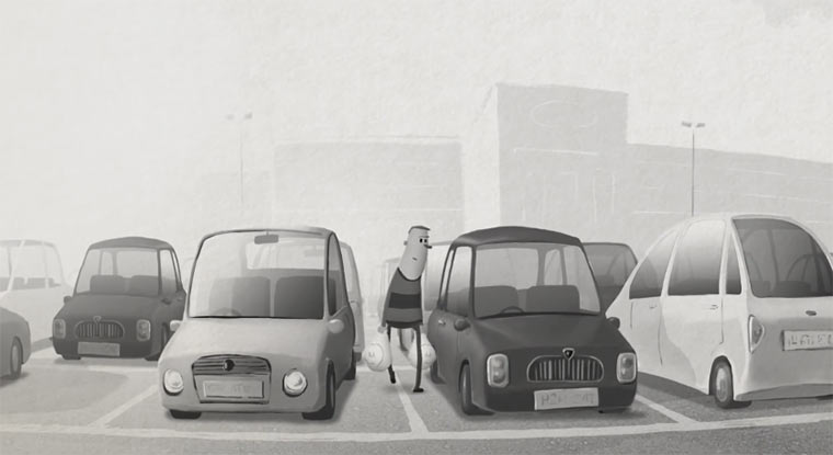 Hundespaß auf dem Parkplatz carpark