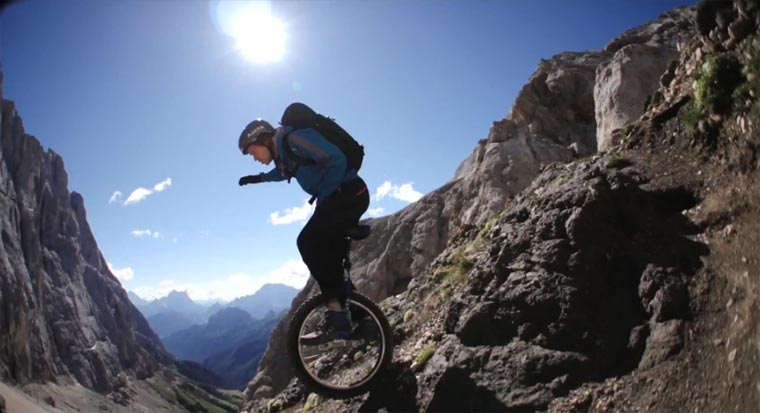 Mountainbiking mit dem Einrad