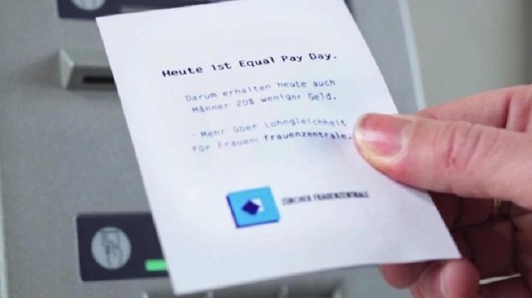 Für Gleichberechtigung in Gehaltsfragen erhalten Männer weniger Geld am Automaten equal_pay_day