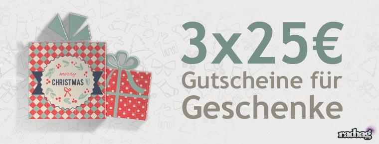 Beschenk dich selbst: 3x25€-Gutscheine von radbag zu gewinnen