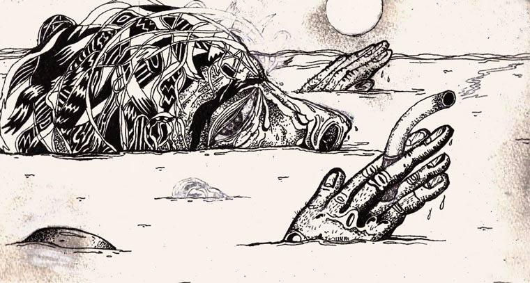 handgemachte Wirr-Warr-Illustrationsanimation the_deep_end