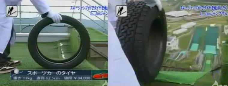 Welcher Reifen springt am weitesten von der Skischanze?