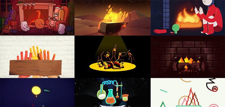 Kreative Animation rund um den Kamin yulelog