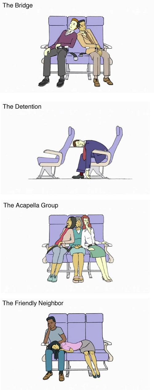 Schlafpositionen im Flugzeug