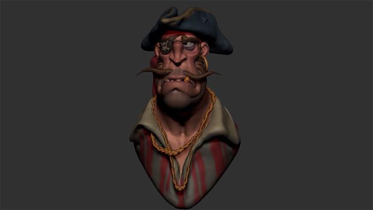 Modellierung eines 3D-Piraten BLOCKING