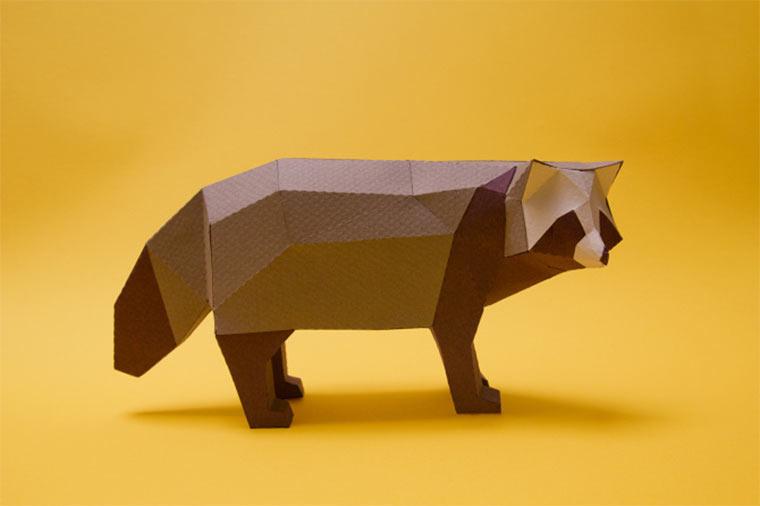 Polygon-Tiere aus Papier