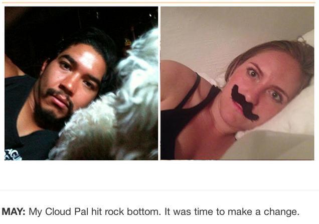 Frau stellt Selfies ihres Smartphonediebes nach
