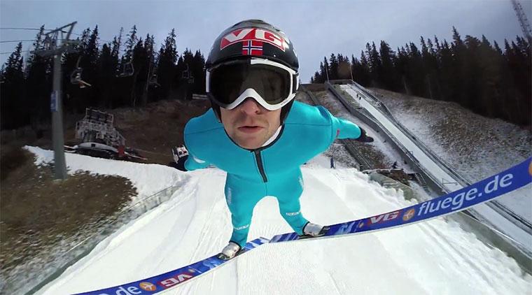 Skispringen mit Helmkamera