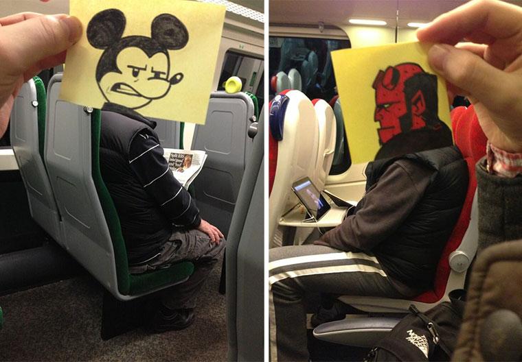 Mitfahrern Cartoon-Köpfe verpassen gegenlangeweileimzug_01