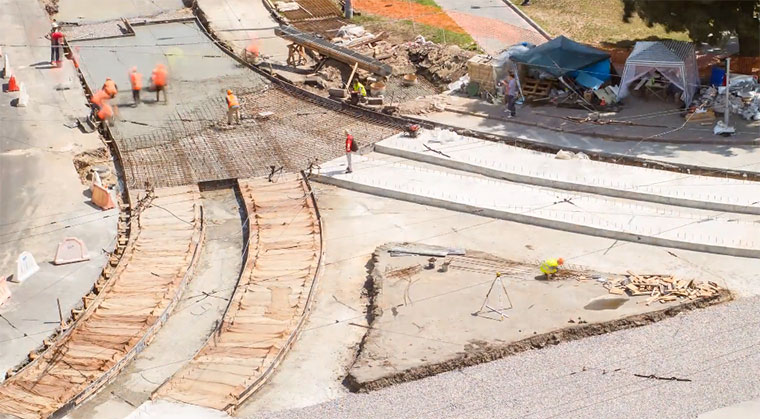 Straßenbahnkreuzungsbau in 90 Sekunden kreuzungsbautimelapse