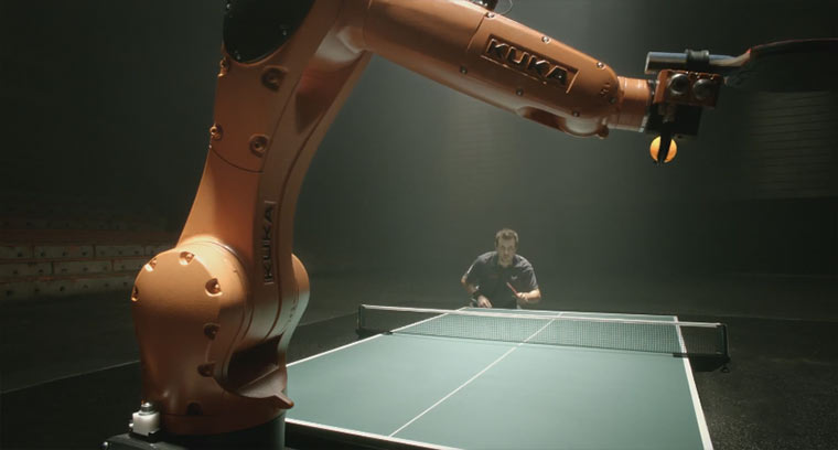 Timo Boll vs. Tischtennis-Roboter kuka_tabletennis_robot