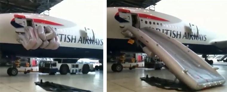 Wie funktionieren eigentlich Flugzeugrettungsrutschen? rettungsrutschen