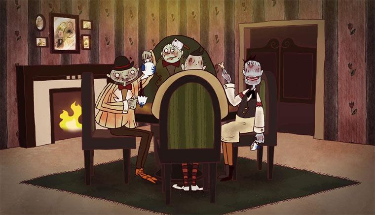 Kaffeetrinken unter Zombies zombie_tea_time