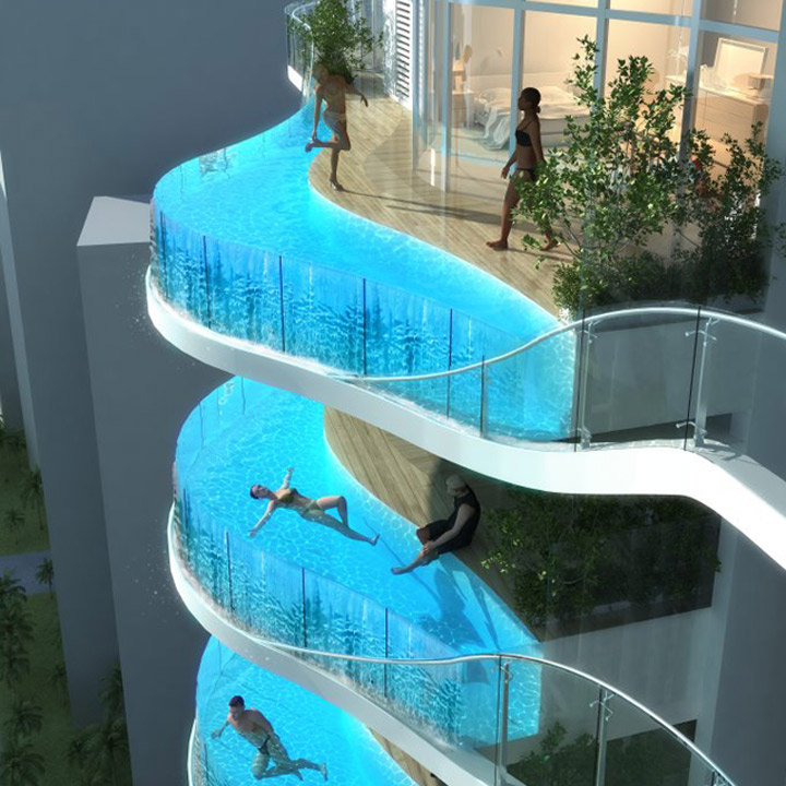 Cool: Hotelsuite mit Blick und Poolbalkon Aquaria_Grande_Residential_01