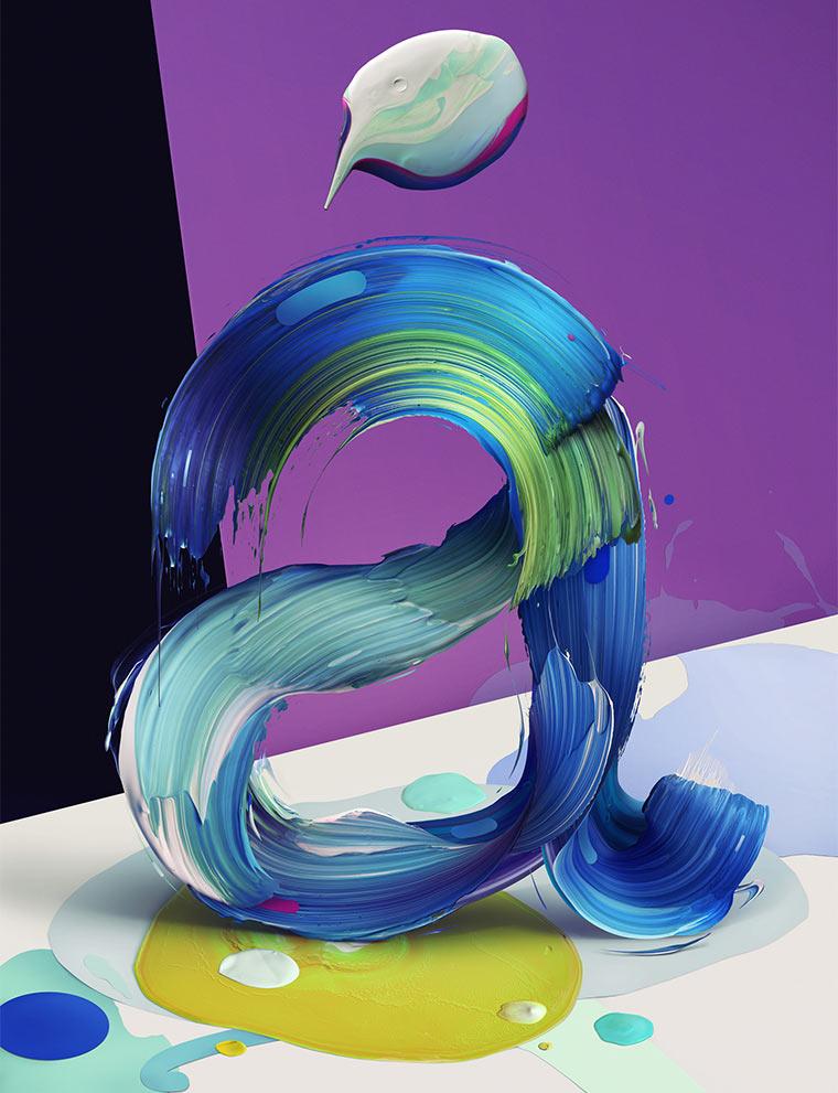 Gemalte 3D-Typografie Atypical_01