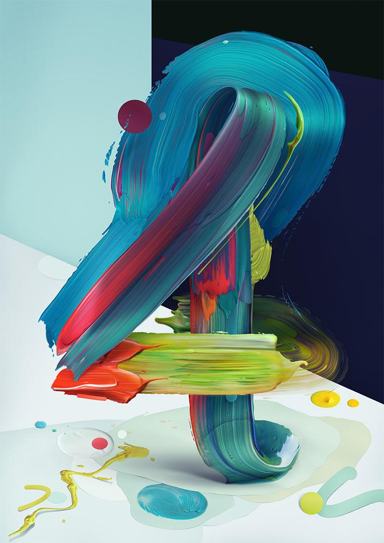 Gemalte 3D-Typografie Atypical_05