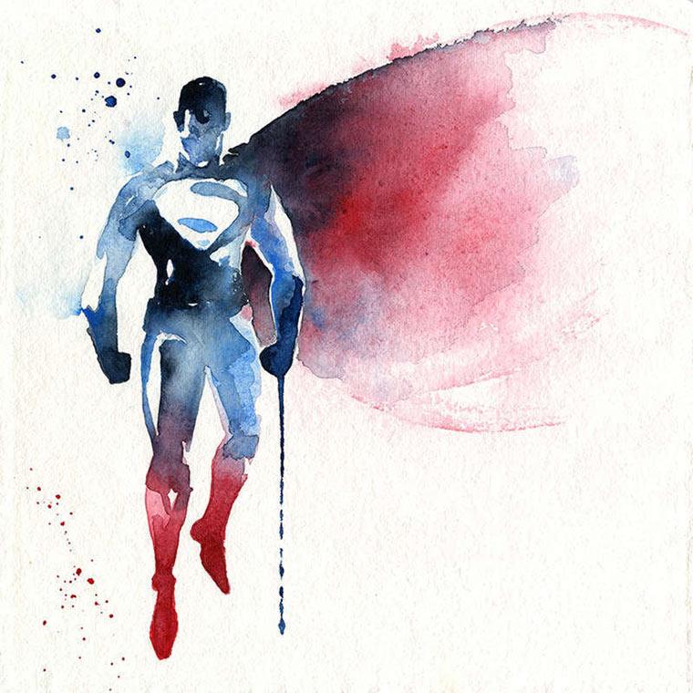 Superhelden-Portraits aus Wasserfarbe Blule_01