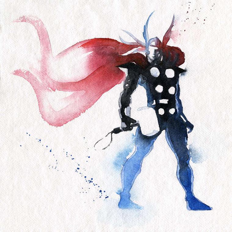 Superhelden-Portraits aus Wasserfarbe Blule_06