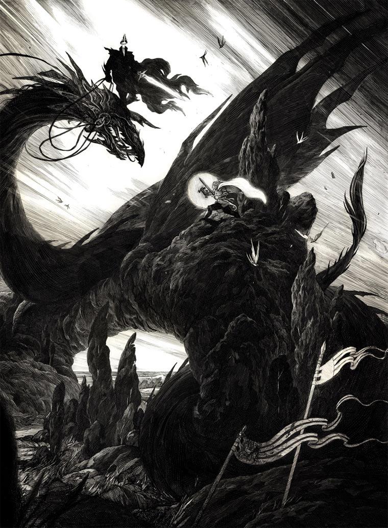 schwarz-weiße Tintenkratzzeichnungen Nico-Delort_02