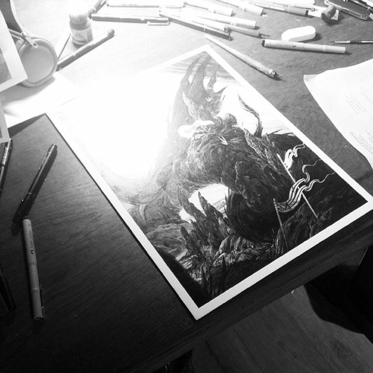 schwarz-weiße Tintenkratzzeichnungen Nico-Delort_03