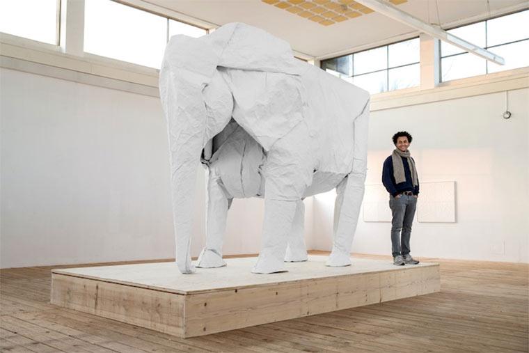 lebensgroßer Origami-Elefant Origami_Elephant_03