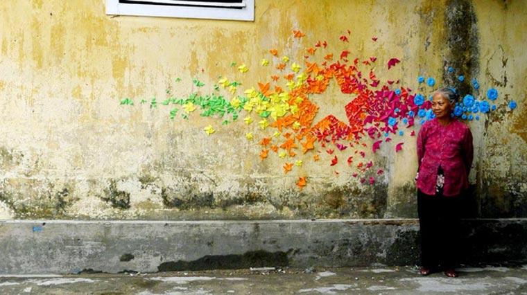 Origami-Street Art: Mademoiselle Maurice