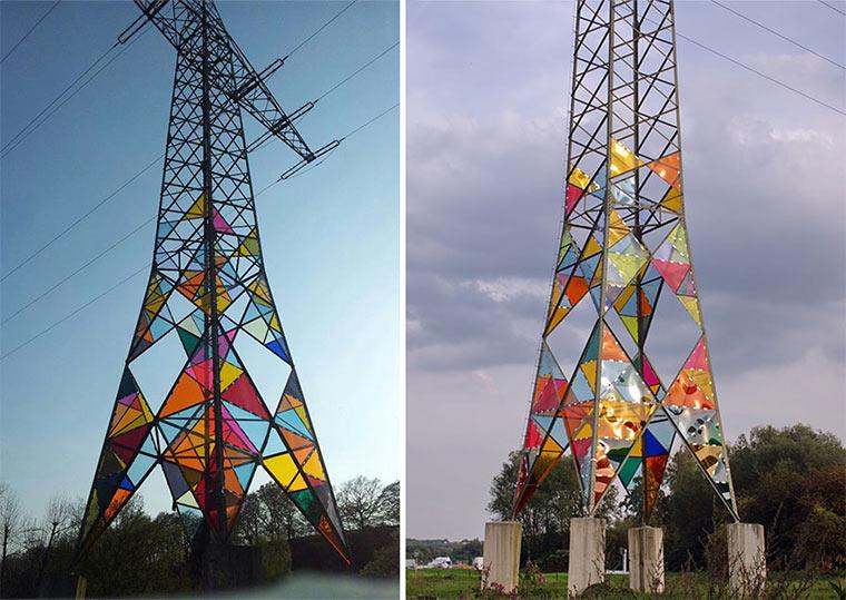 Studenten machen Strommasten farbenfroh bunte_Strommasten_02
