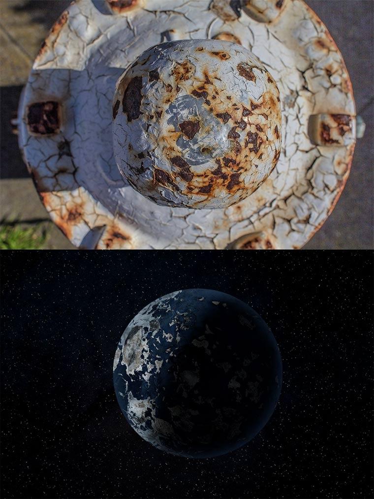 Planeten aus verrosteten Feuerhydranten fire_hydrant_planets_02