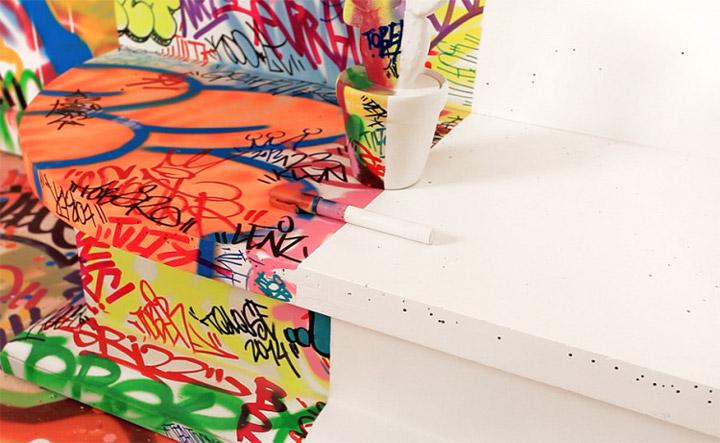 Halb Hotelzimmer - Halb Graffiti half_graffiti_hotel_room_06