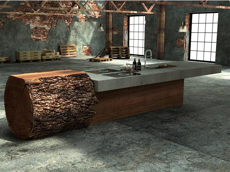 baumstamm k che moderne mischung aus eichenholz und beton. Black Bedroom Furniture Sets. Home Design Ideas