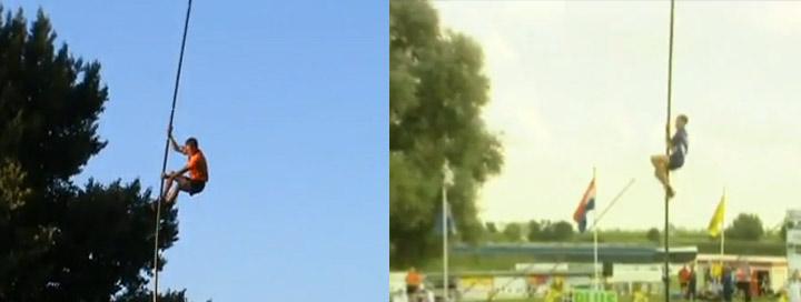 Skurriler Sport: Stabhochklettersprung Fierljeppen