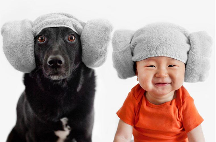 Hund & Baby im gleichen Outfit