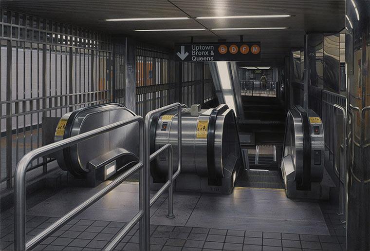 Realistisch gemalte U-Bahn-Stationen Hisaya_Taira_04