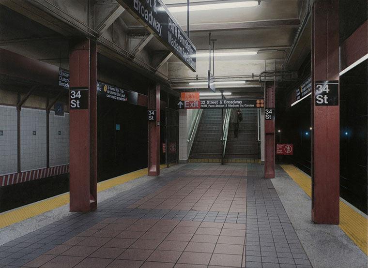 Realistisch gemalte U-Bahn-Stationen Hisaya_Taira_06