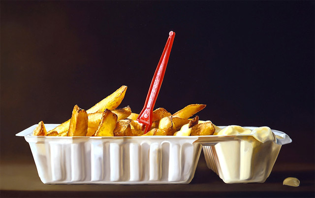 hyperrealistic paintings of food by Tjalf Sparnaay