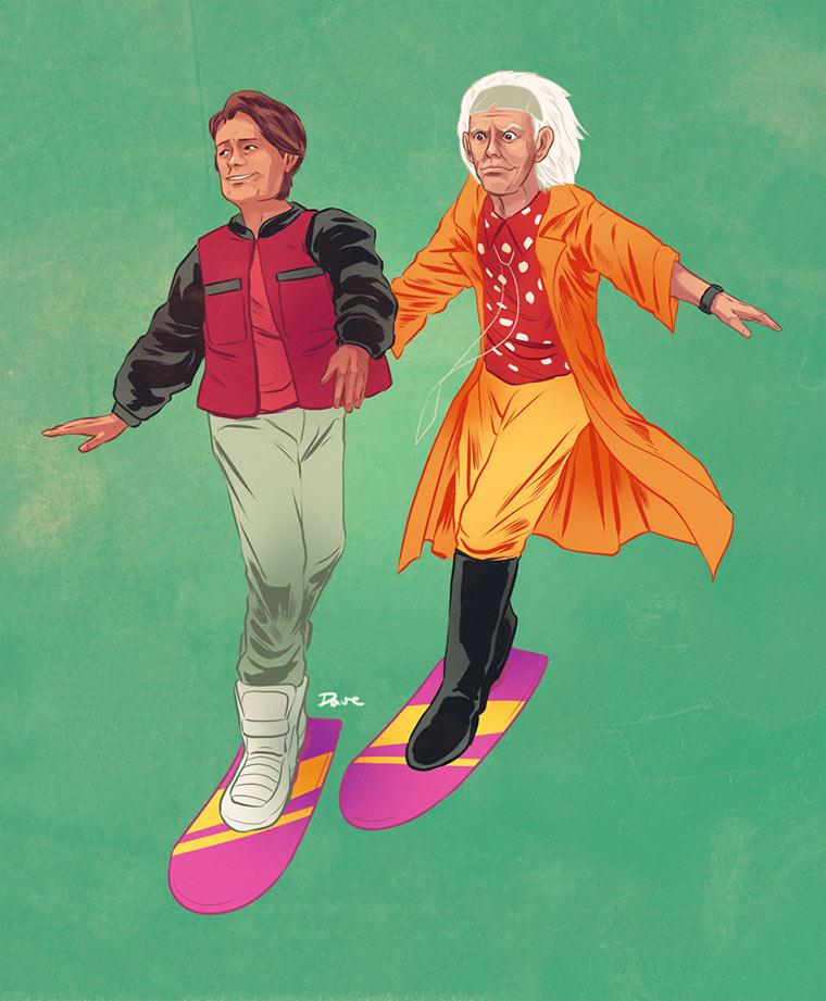 Illustrierte Popkultur-Buddies