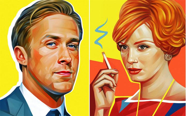 bunte Illustration: Promi-Portraits von Evgeny Parfenov