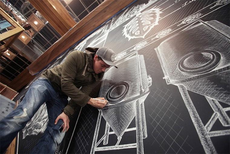Kreideillustration im Brauhaus Sierra-Nevada-Brewerie_shalk_01