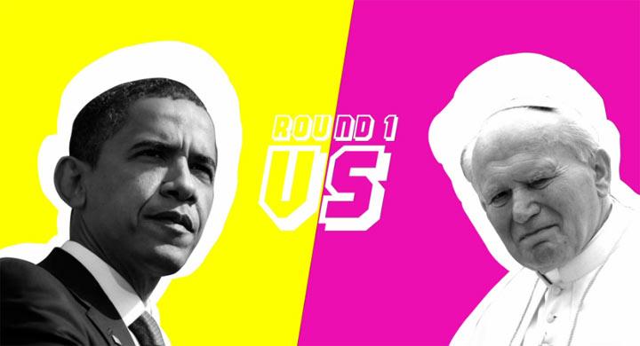 Queen, Papst & Obama spielen Schnick-Schnack-Schnuck Rock_Paper_Scissors