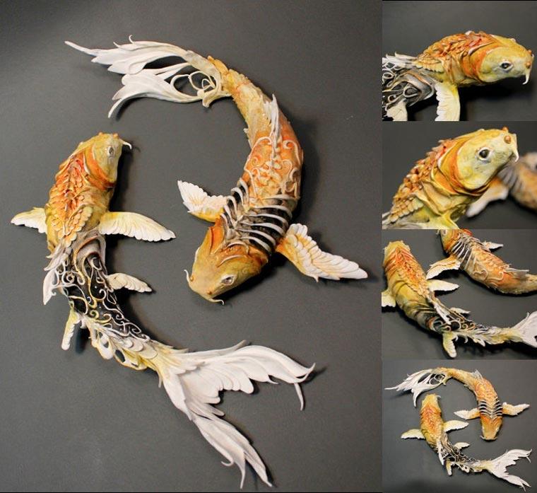 Koi fish gold fish on pinterest koi japanese koi and fish for Koi fish statue