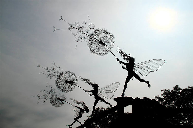 Stählerne Feen-Statuen wirefairies_03