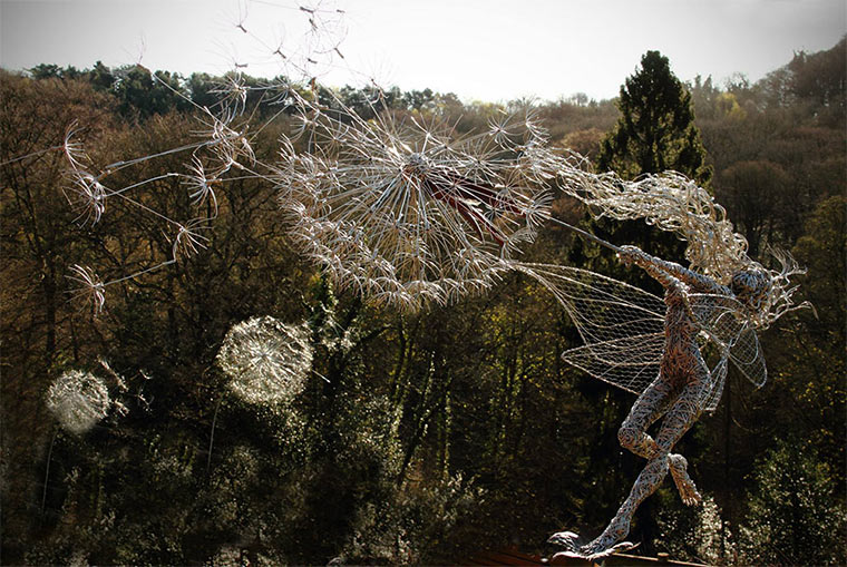 Stählerne Feen-Statuen wirefairies_05