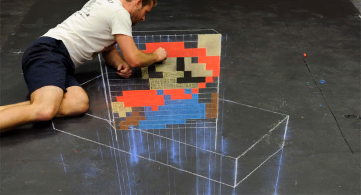 Super Mario 3D Kreide Timelapse