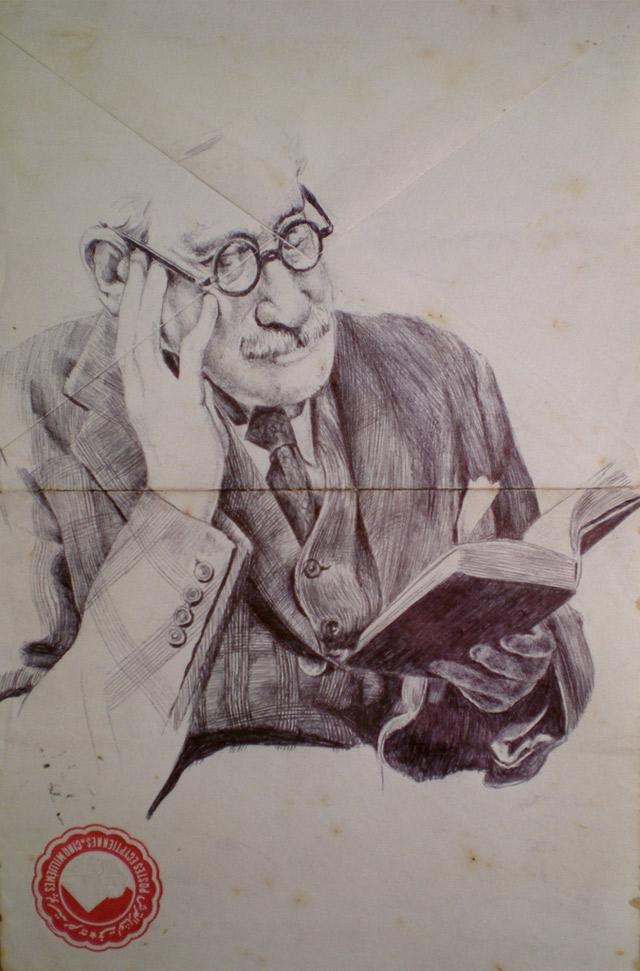 Portrait-Zeichnungen auf Briefumschlägen Mark_Powell_04
