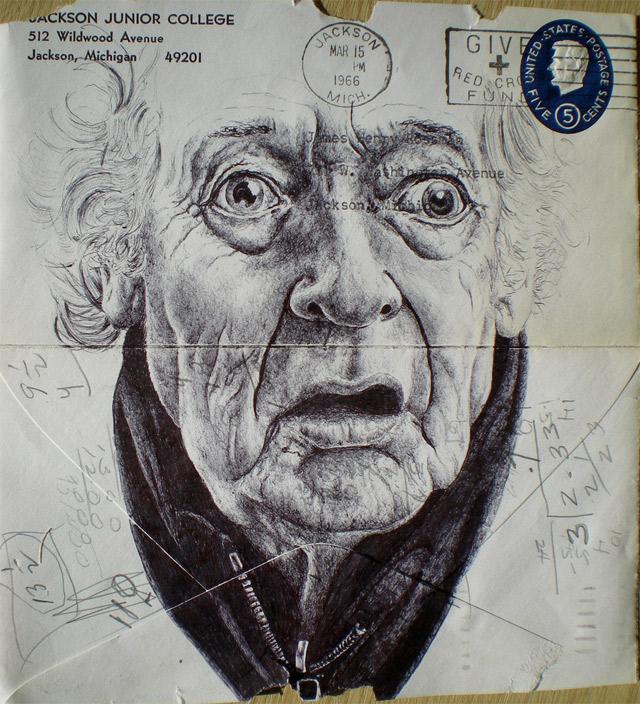 Portrait-Zeichnungen auf Briefumschlägen Mark_Powell_10